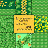 Set of seamless patterns with coins and paper Royalty Free Stock Photos