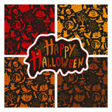 Set of seamless patterns color icons for Halloween Royalty Free Stock Photography