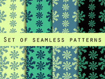 Set seamless patterns. Color mint. The pattern for wallpaper, bed linen, tiles, fabrics, backgrounds. Vector illustration Stock Images
