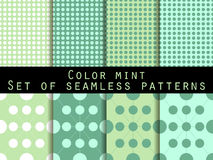 Set seamless patterns. Color mint. The pattern for wallpaper, bed linen, tiles, fabrics, backgrounds. Vector illustration Royalty Free Stock Photo