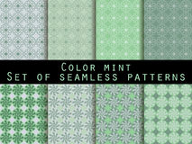 Set seamless patterns. Color mint. The pattern for wallpaper, bed linen, tiles, fabrics, backgrounds. Vector illustration Royalty Free Stock Image