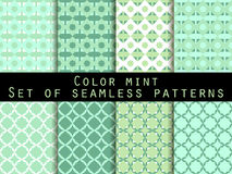 Set seamless patterns. Color mint. The pattern for wallpaper, bed linen, tiles, fabrics, backgrounds. Vector. Illustration Royalty Free Stock Images
