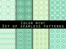 Set seamless patterns. Color mint. The pattern for wallpaper, bed linen, tiles, fabrics, backgrounds. Vector. Illustration Royalty Free Stock Photography