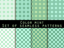 Set seamless patterns. Color mint. The pattern for wallpaper. Bed linen, tiles, fabrics, backgrounds. Vector illustration Royalty Free Stock Images