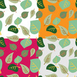 Set of seamless patterns of colored leaves on white, gray, orang. EPS 10 vector illustration for design Royalty Free Stock Photography
