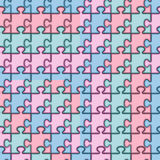 Set of seamless patterns with colored puzzles. Stock Photography