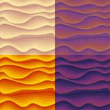 Set of seamless patterns with colorful abstract waves. Royalty Free Stock Image