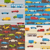 Set of seamless patterns with colorful cars Stock Photography
