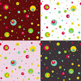 Set of seamless patterns with colorful circles. Royalty Free Stock Photos