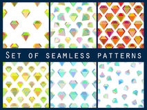 Set of seamless patterns with colorful diamonds. The faceted diamond. Stock Images