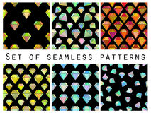 Set of seamless patterns with colorful diamonds. The faceted diamond. Royalty Free Stock Images