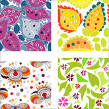 Set of seamless patterns with colorful leafs Royalty Free Stock Photography