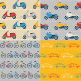 Set of seamless patterns with colorful transport Stock Photos