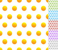 Set of seamless patterns in 6 colors: Dotted, polkadots, circle Royalty Free Stock Image