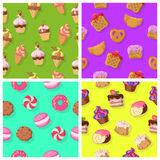 Set of Seamless Patterns with Confectioneries Stock Images