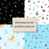 The set of seamless patterns with Cristmas and New Year. The vector picture. EPS 8 Stock Image