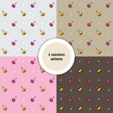 Set of seamless patterns. Cupcakes. Vector Stock Images
