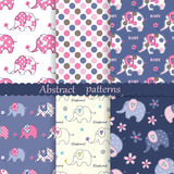 Set of seamless patterns with cute elephants. Polka dots ant flowers stock illustration