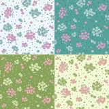 Set of seamless patterns with cute flowers royalty free illustration