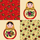 Set of seamless patterns and cute russian dolls ma Stock Image