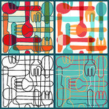 Set of seamless patterns with Cutlery. Royalty Free Stock Image