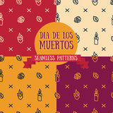 Set of seamless patterns for day of the dead. Vector illustration Stock Photo