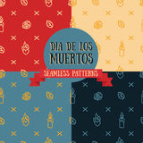 Set of seamless patterns for day of the dead. Vector illustration Stock Photos