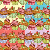 Set of seamless patterns with decorated sweet cupcakes Stock Images