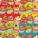 Set of seamless patterns with decorated sweet cupcakes Royalty Free Stock Image
