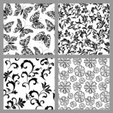 A set of seamless patterns with decoration tracery on a white background. Vintage style. Texture for print, wallpaper, home decor, textile, package design stock illustration
