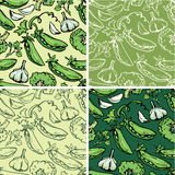 Set of seamless patterns with delicious vegetables. Royalty Free Stock Images