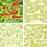 Set of seamless patterns with delicious vegetables. Stock Photo