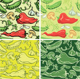 Set of seamless patterns with delicious vegetables. Royalty Free Stock Photos