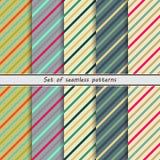 Set of seamless patterns, diagonal stripe Stock Photos
