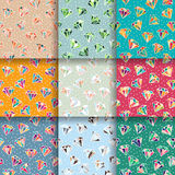 Set of Seamless Patterns with Diamonds Royalty Free Stock Photo