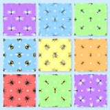 Set of 9 seamless patterns with different insects stock illustration