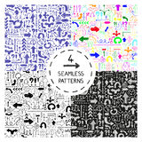 Set of 4 seamless patterns. With doodle arrows. Design elements for printables, wallpaper, corporate identity, web site wallpapers, fabric print. Vector Stock Illustration