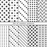 Set of seamless patterns with dots, circles stock illustration