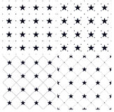 Set of 4 Seamless patterns with Dots and stars royalty free stock images