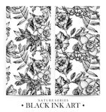 Set of seamless patterns with dotted flowers, birds and plants drawn by hand with black ink. Graphic drawing, pointillism technique. Floral background in dotwork stock illustration