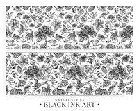 Set of seamless patterns with dotted flowers, birds and plants drawn by hand with black ink. Graphic drawing, pointillism technique. Floral background in dotwork royalty free illustration
