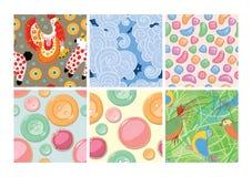 Set of seamless patterns. Dymkovo. Buttons. Candy. Birds. Ice-cream. Stock Photo
