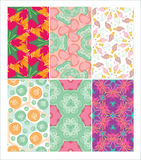 Set of seamless patterns. Dymkovo. Buttons. Candy. Birds. Ice-cream. Royalty Free Stock Images