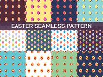 Set of 12 seamless patterns with easter eggs Stock Photography