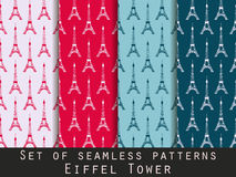 Set of seamless patterns. Eiffel tower. Vector. Stock Images
