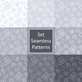 Set seamless patterns with email in grey colors Royalty Free Stock Photography