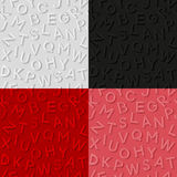 Set of seamless patterns with emboss alphabet Stock Photo
