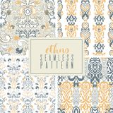 Set of seamless patterns in ethnic style. Abstract bacground, hand drawn painting