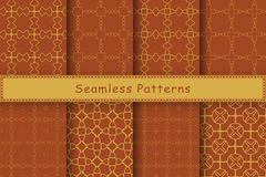 Set of 8 seamless patterns in ethnic style Royalty Free Stock Image