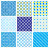 Set of seamless patterns with fabric checked textu Stock Images
